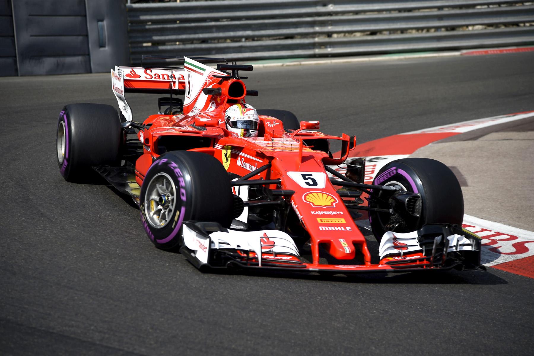 Sebastian Vettel in his Ferrari on the streets of Monte Carlo