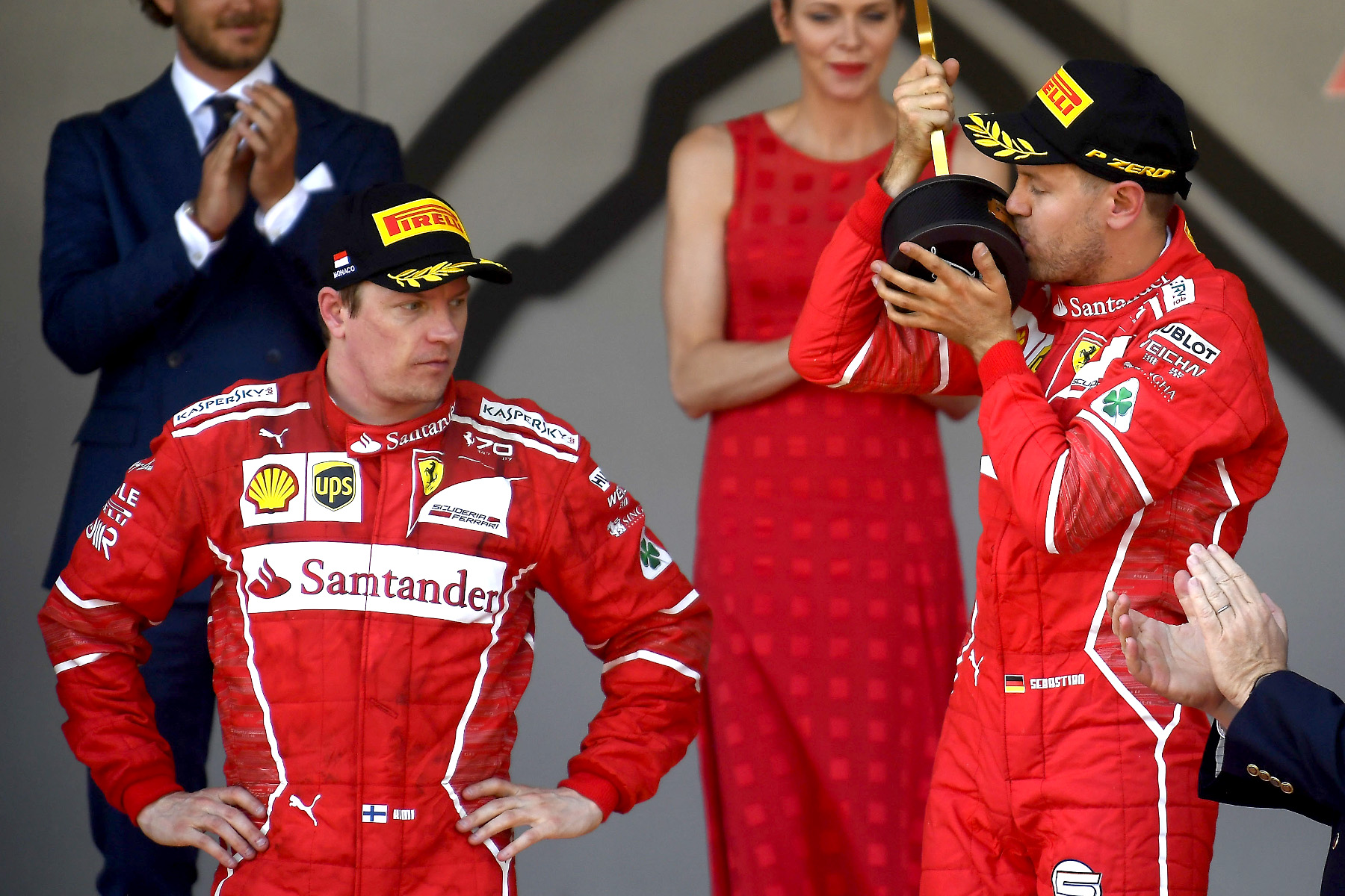 Kimi Raikkonen and Sebastian Vettel on the podium of the 2017 Monaco Grand Prix