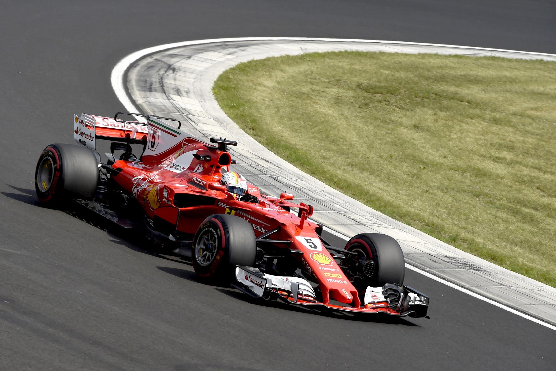 Sebastian Vettel in his Ferrari at the 2017 Hungarian Grand Prix.