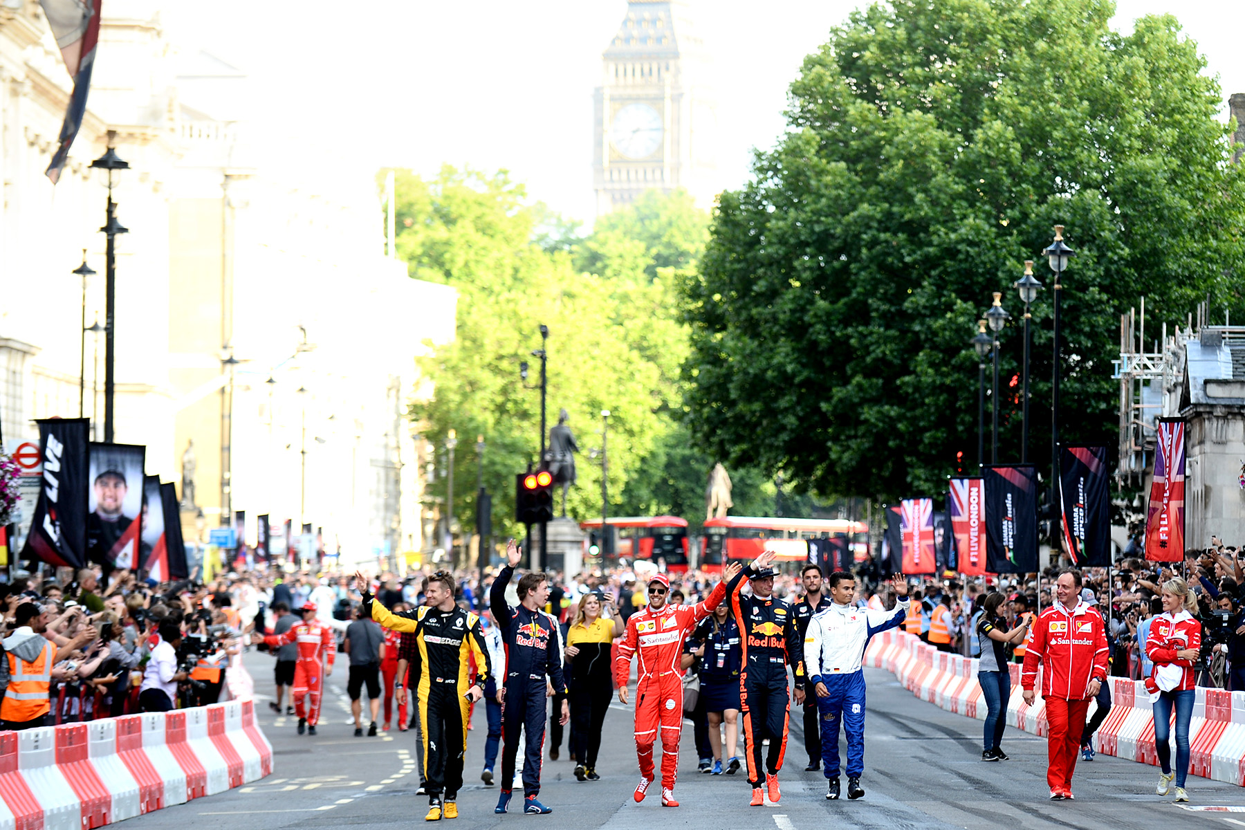 All bar one of the drivers walking the streets of London for F1 Live.