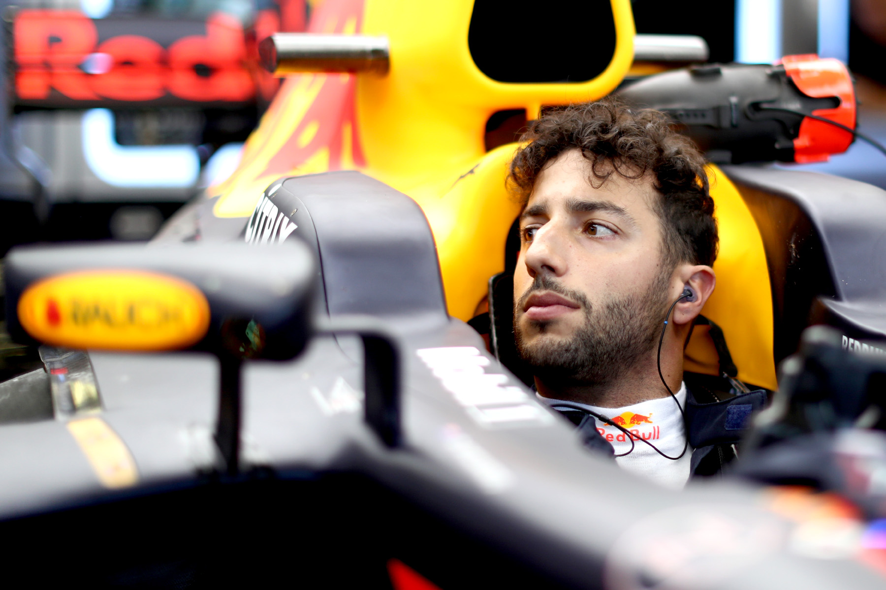 Daniel Ricciardo sits in his RB13 at the 2017 Hungarian Grand Prix.