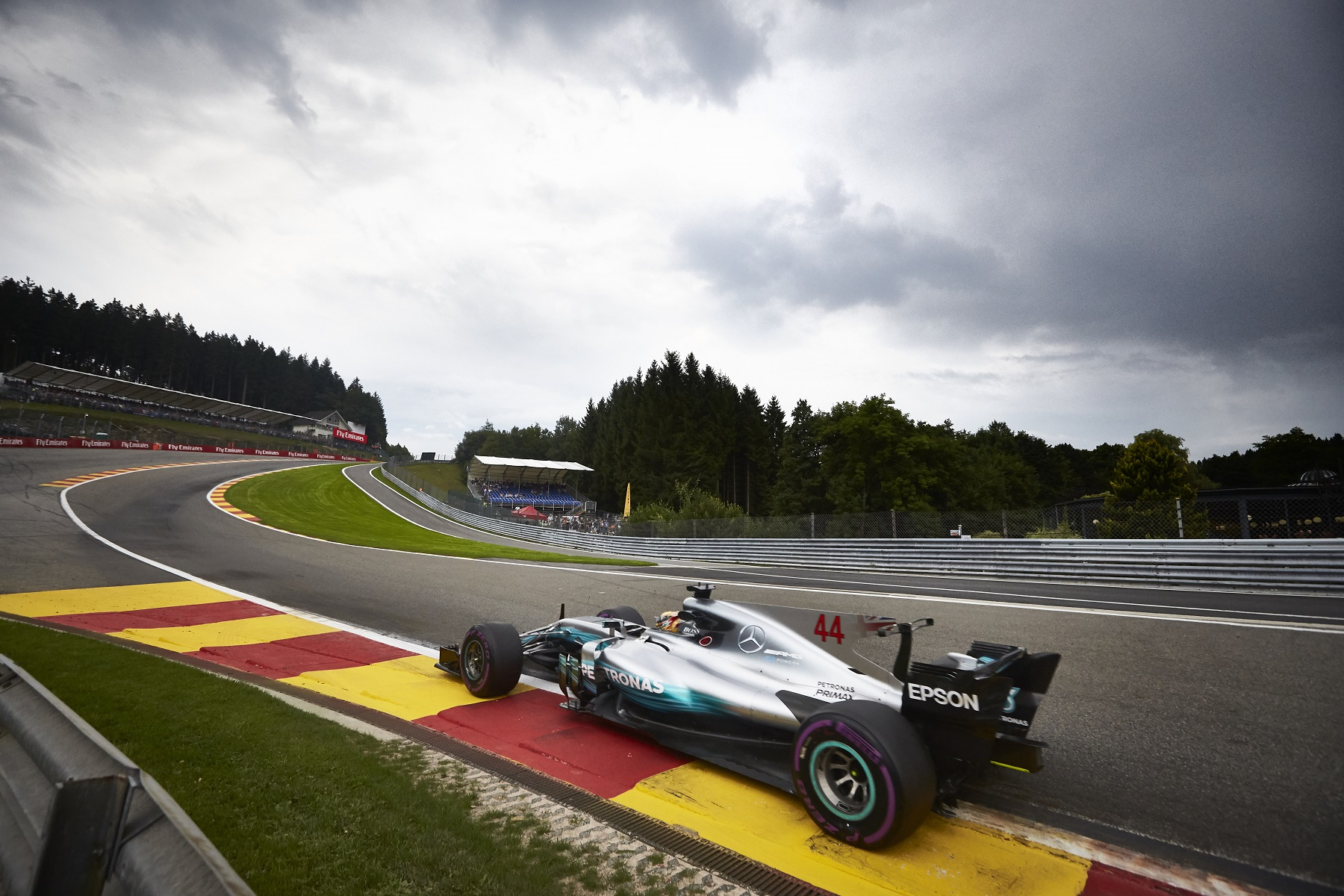 Lewis Hamilton in his Mercedes at Circuit de Spa-Francorchamps.