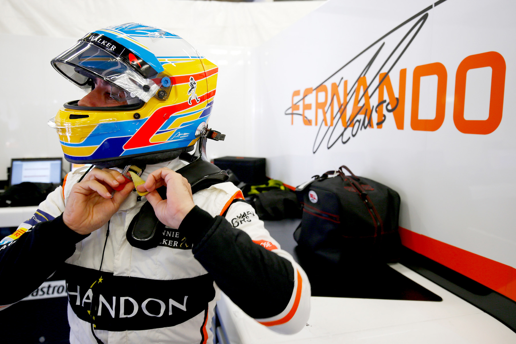 Fernando Alonso in his garage at the Hungarian Grand Prix.
