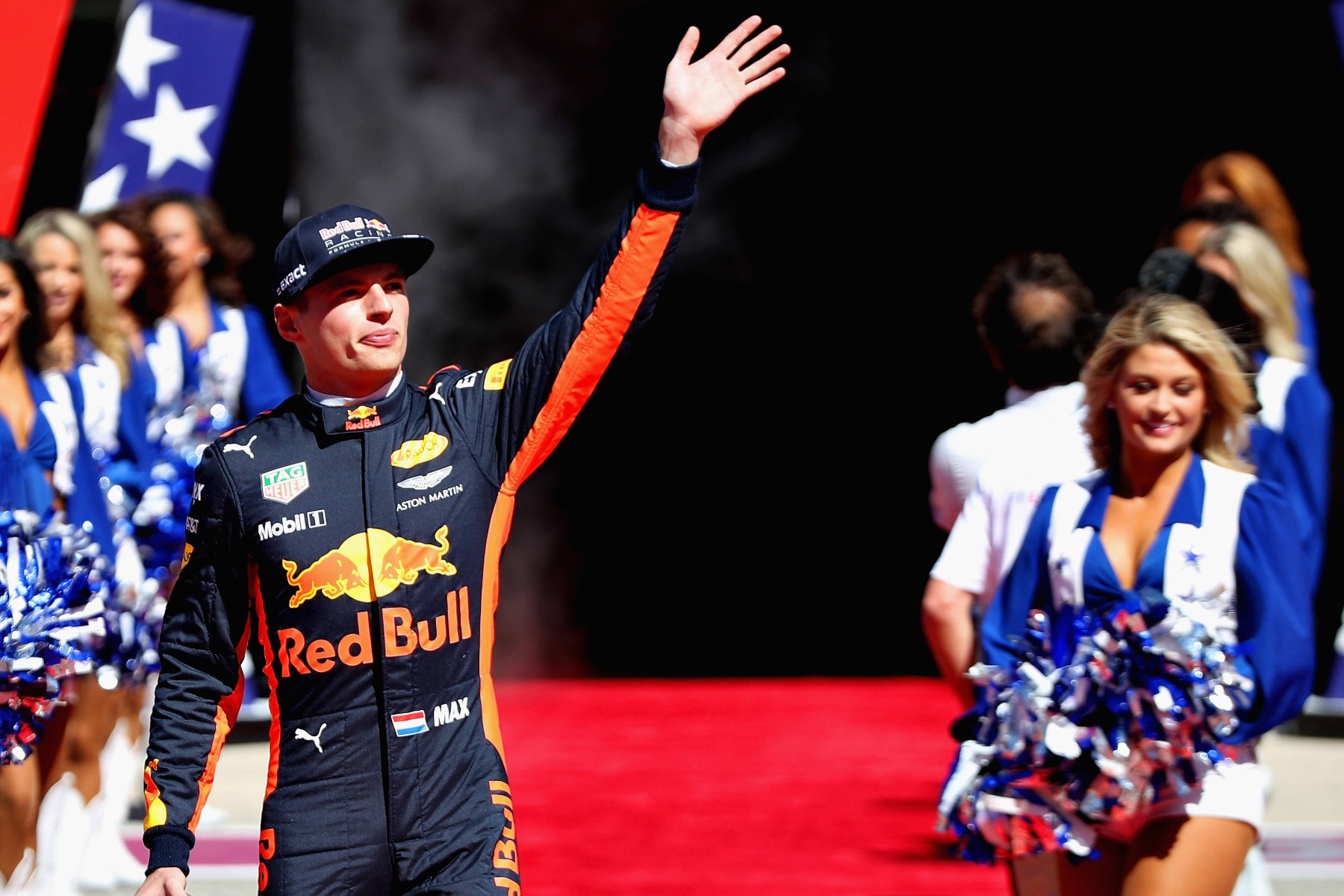 Max Verstappen is introduced to the Austin crowd at the 2017 United States Grand Prix.