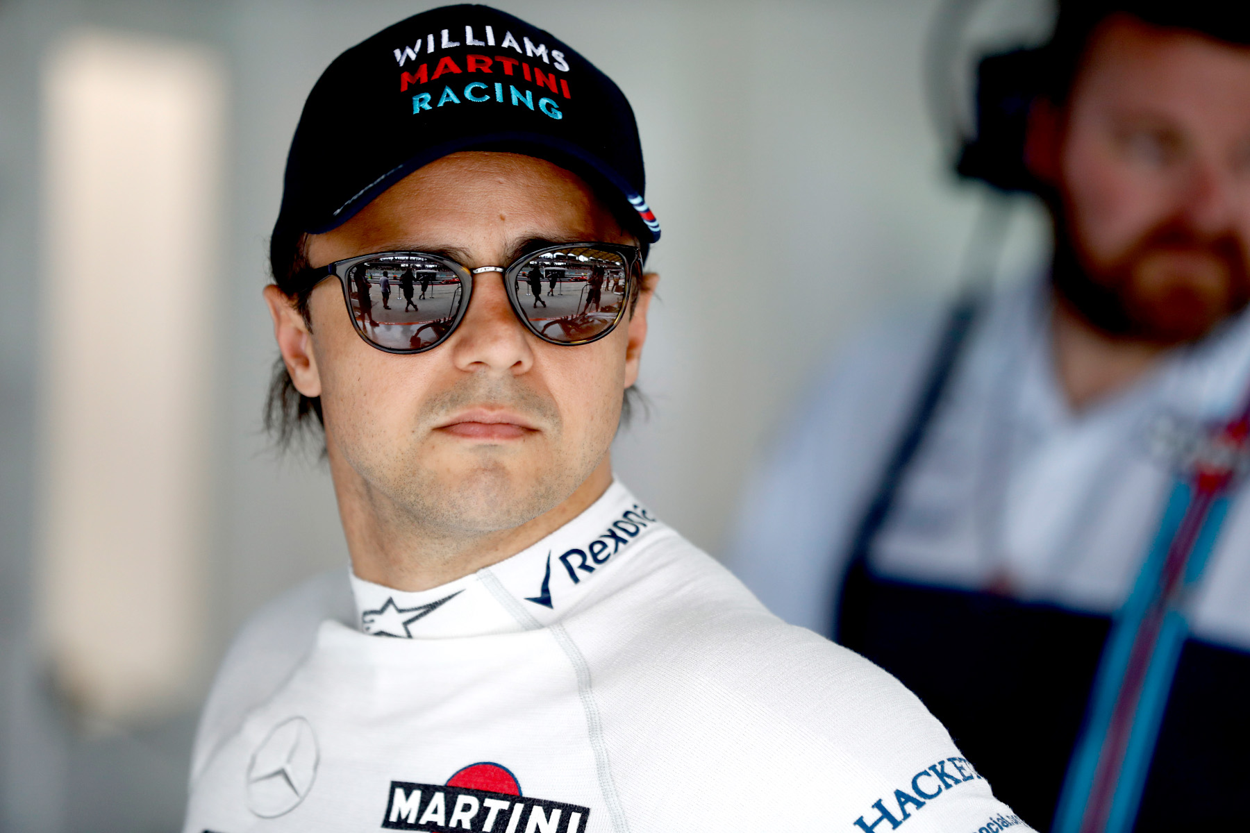 Felipe Massa in his garage at the 2017 Malaysian Grand Prix.