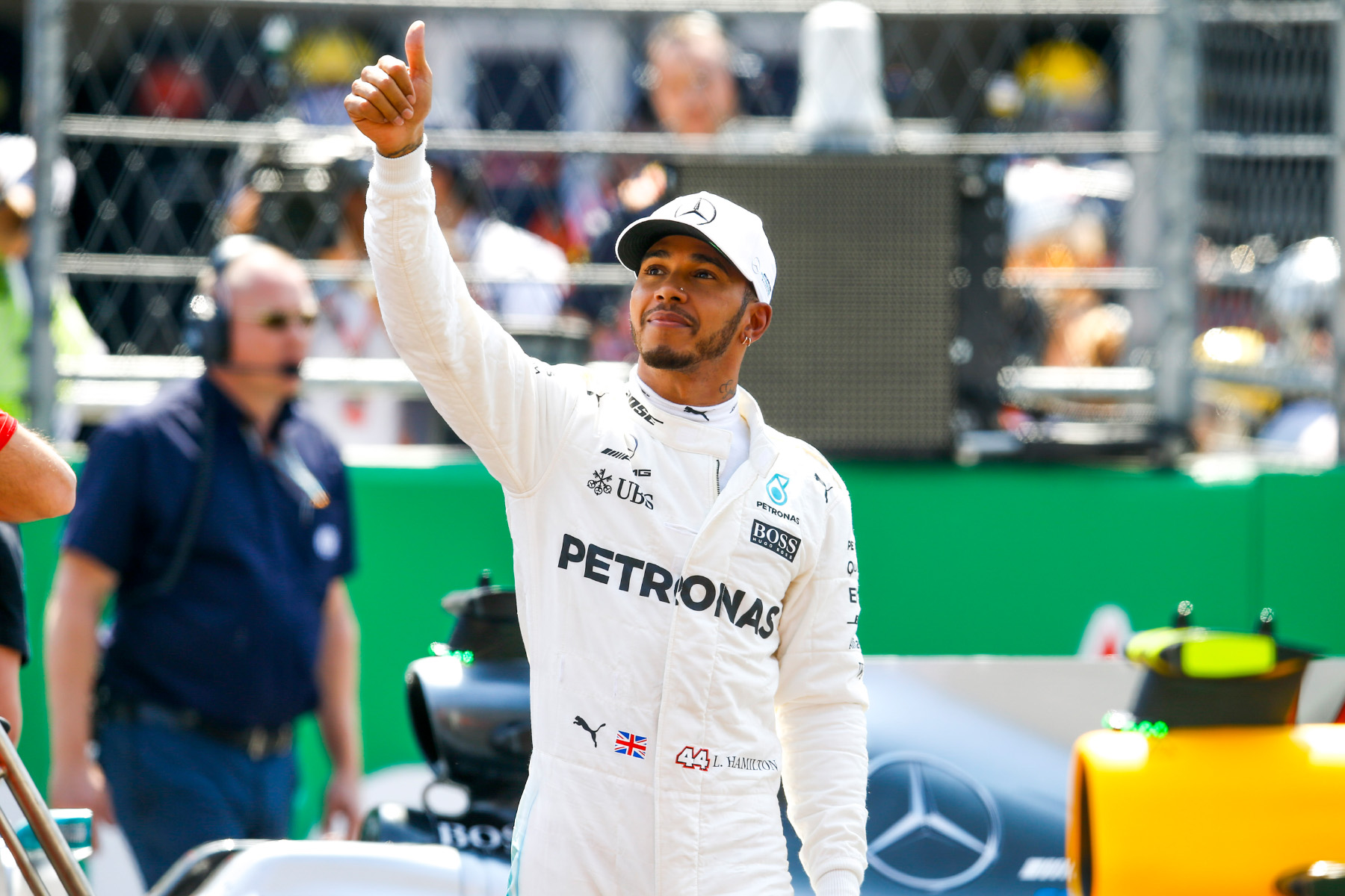 Lewis Hamilton celebrates at the 2017 Mexican Grand Prix.