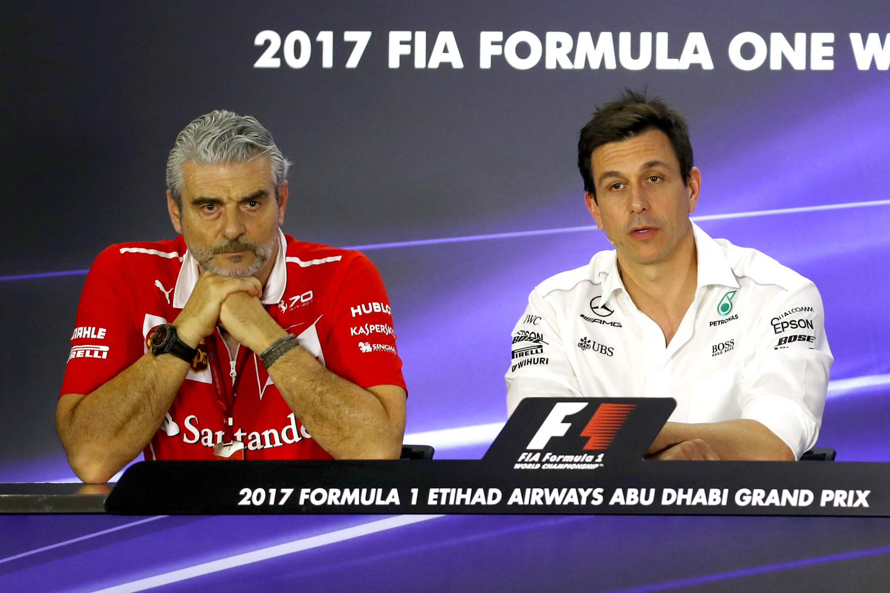 Maurizio Arrivabene (Ferrari) and Toto Wolff (Mercedes) in the Friday press conference at the 2017 Abu Dhabi Grand Prix.