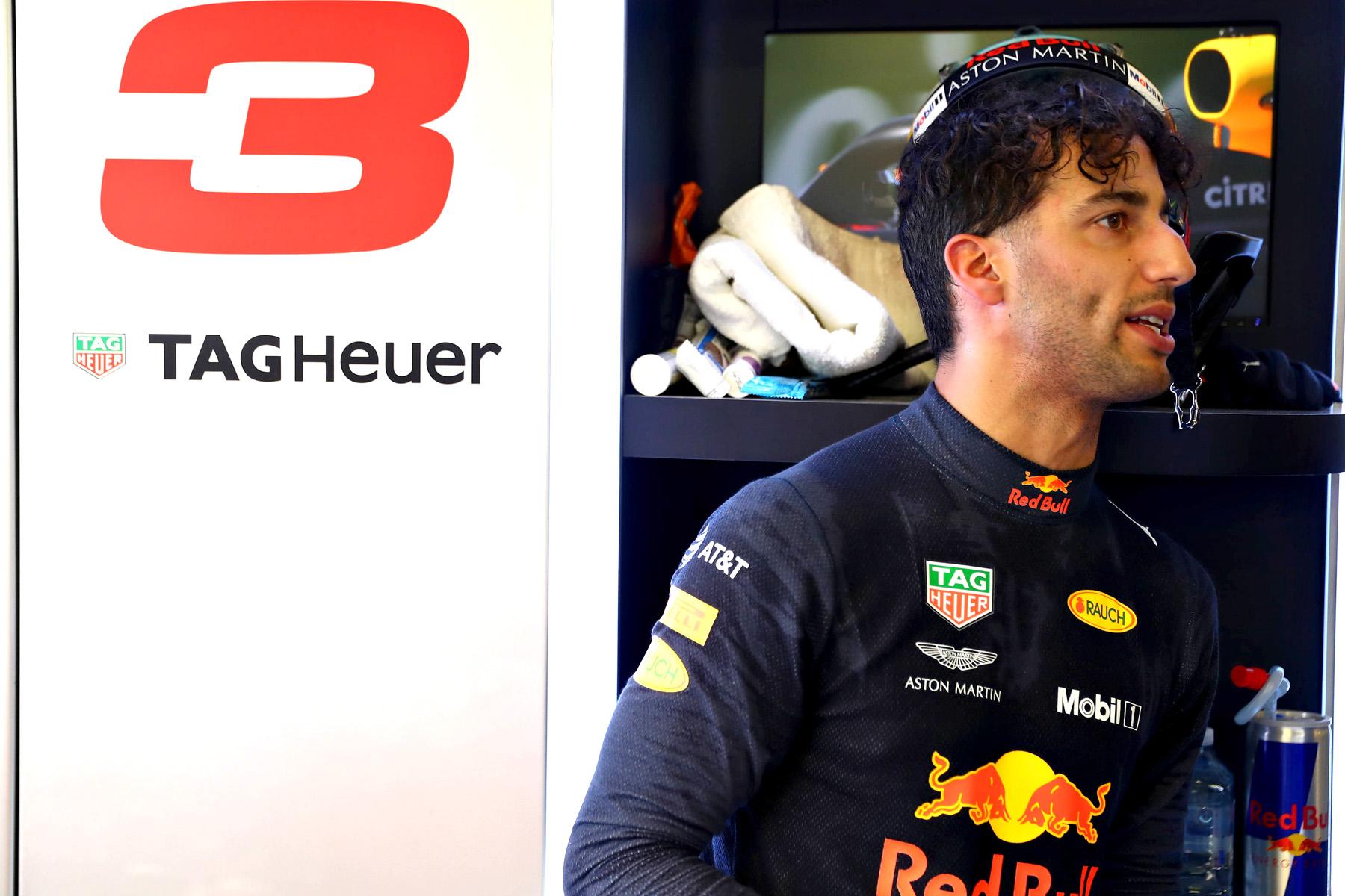 Daniel Ricciardo in his garage at the Australian Grand Prix.