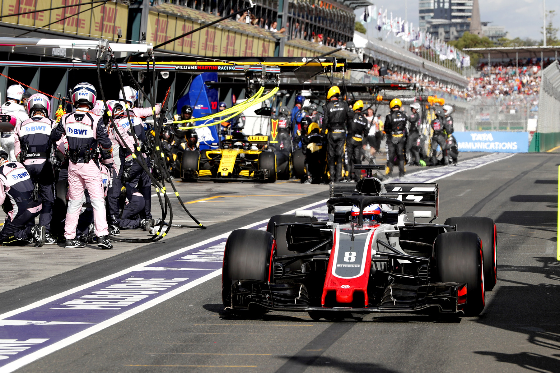 Romain Grosjean exits the pits at the Australian Grand Prix.