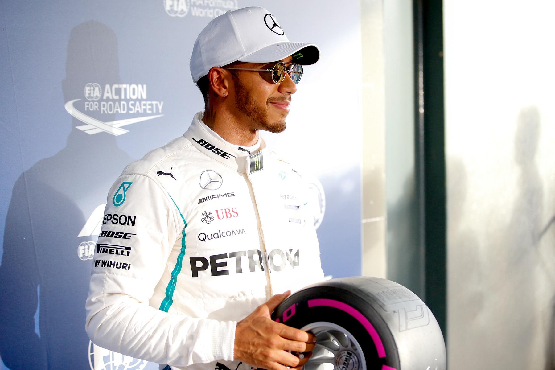 Lewis Hamilton wins the pole award at the Australian Grand Prix.