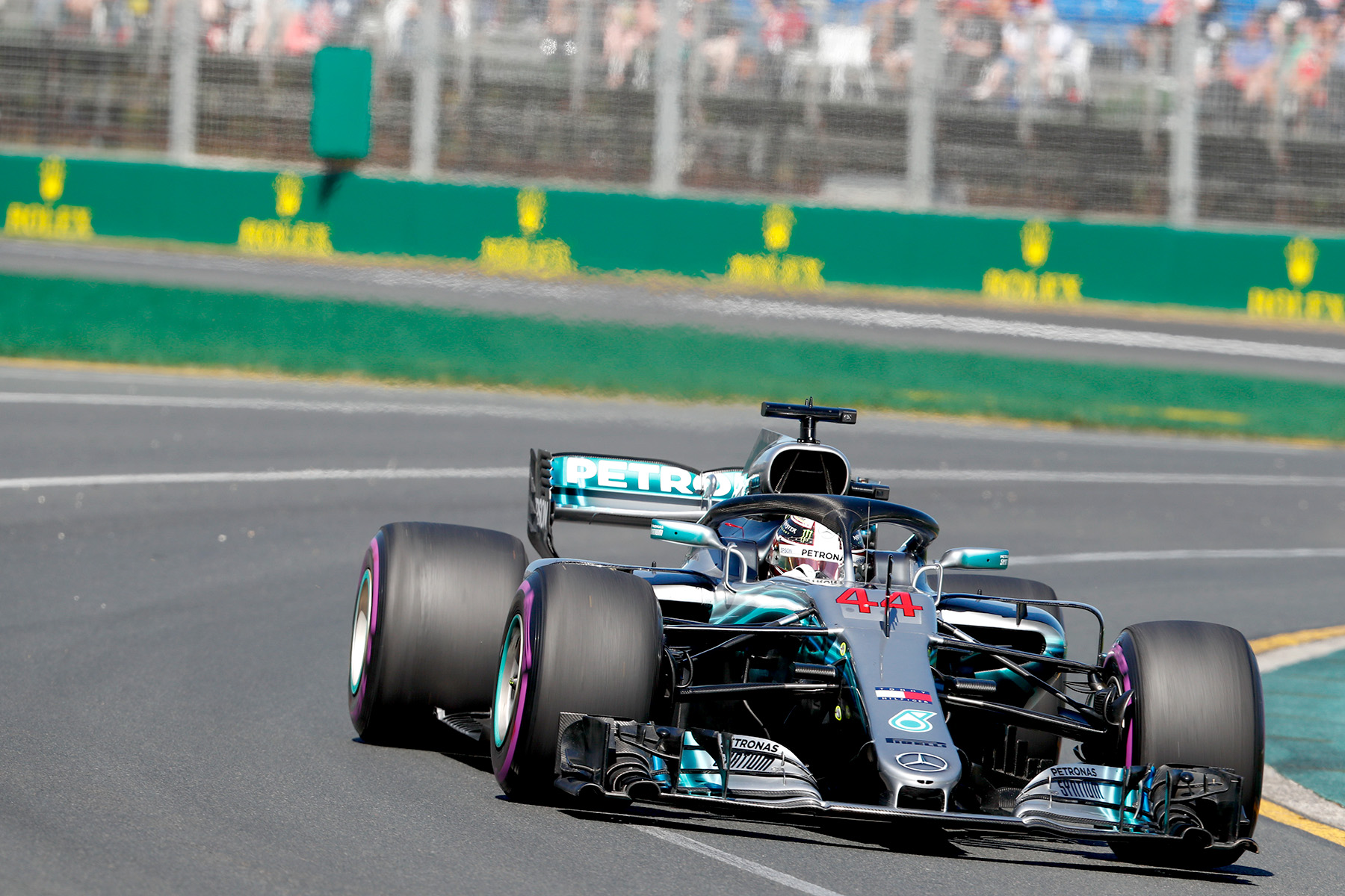 Lewis Hamilton on track on Friday at the Australian Grand Prix.