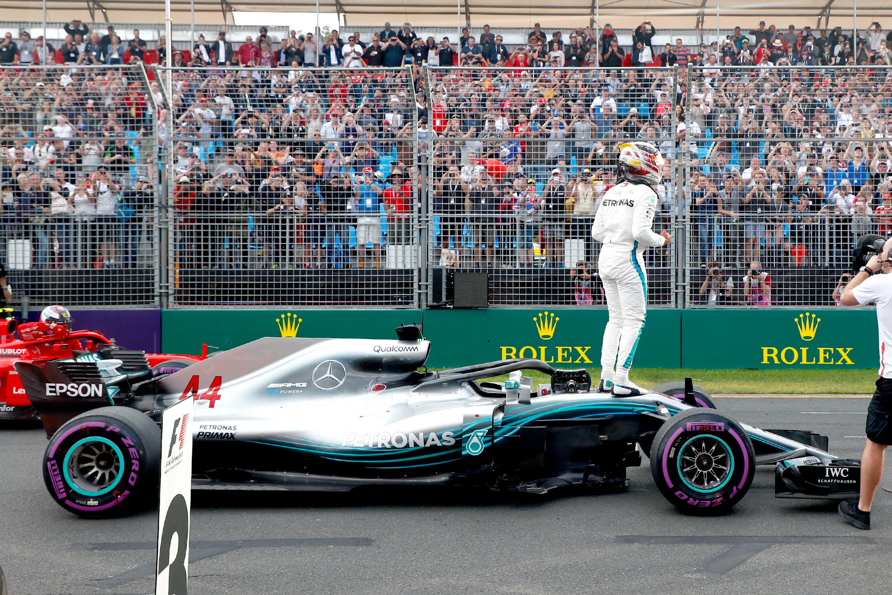 Lewis Hamilton celebrates pole at the 2018 Australian Grand Prix.