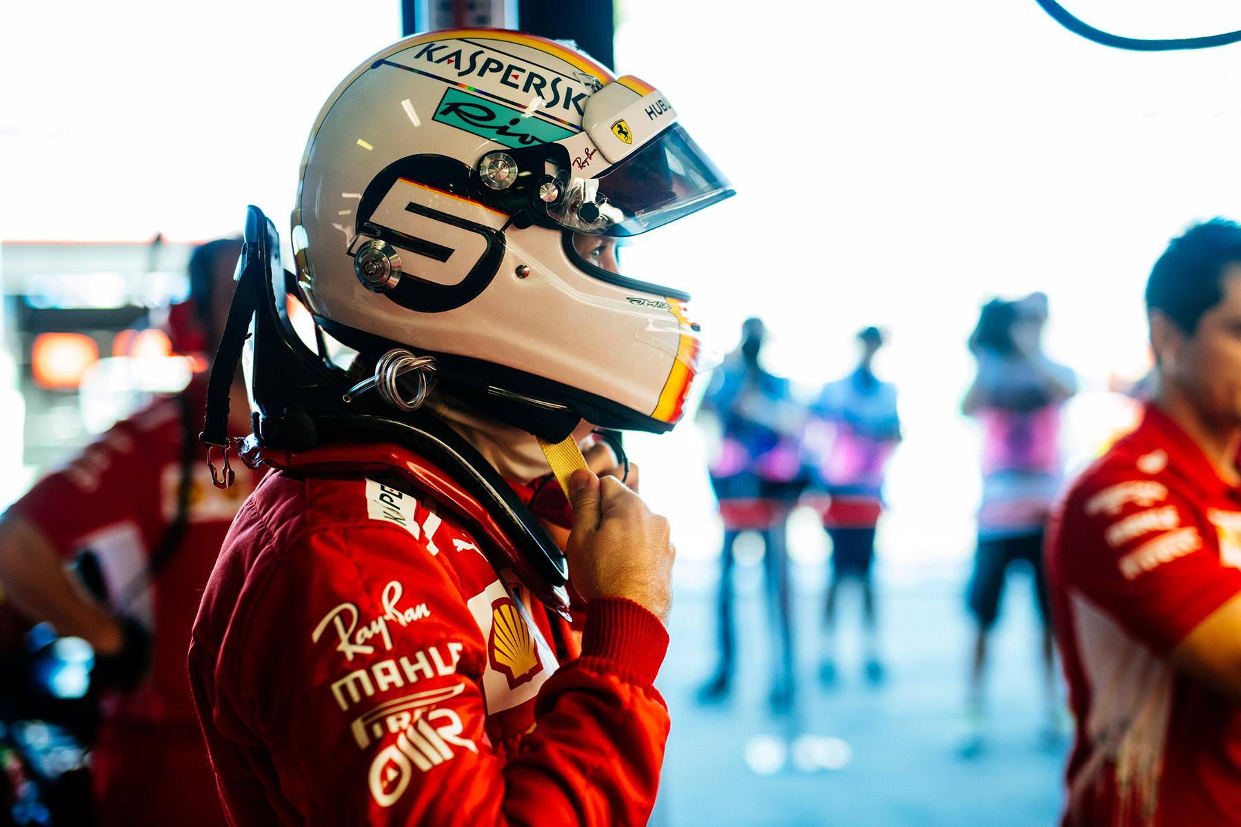 Sebastian Vettel in his garage at the Australian Grand Prix.