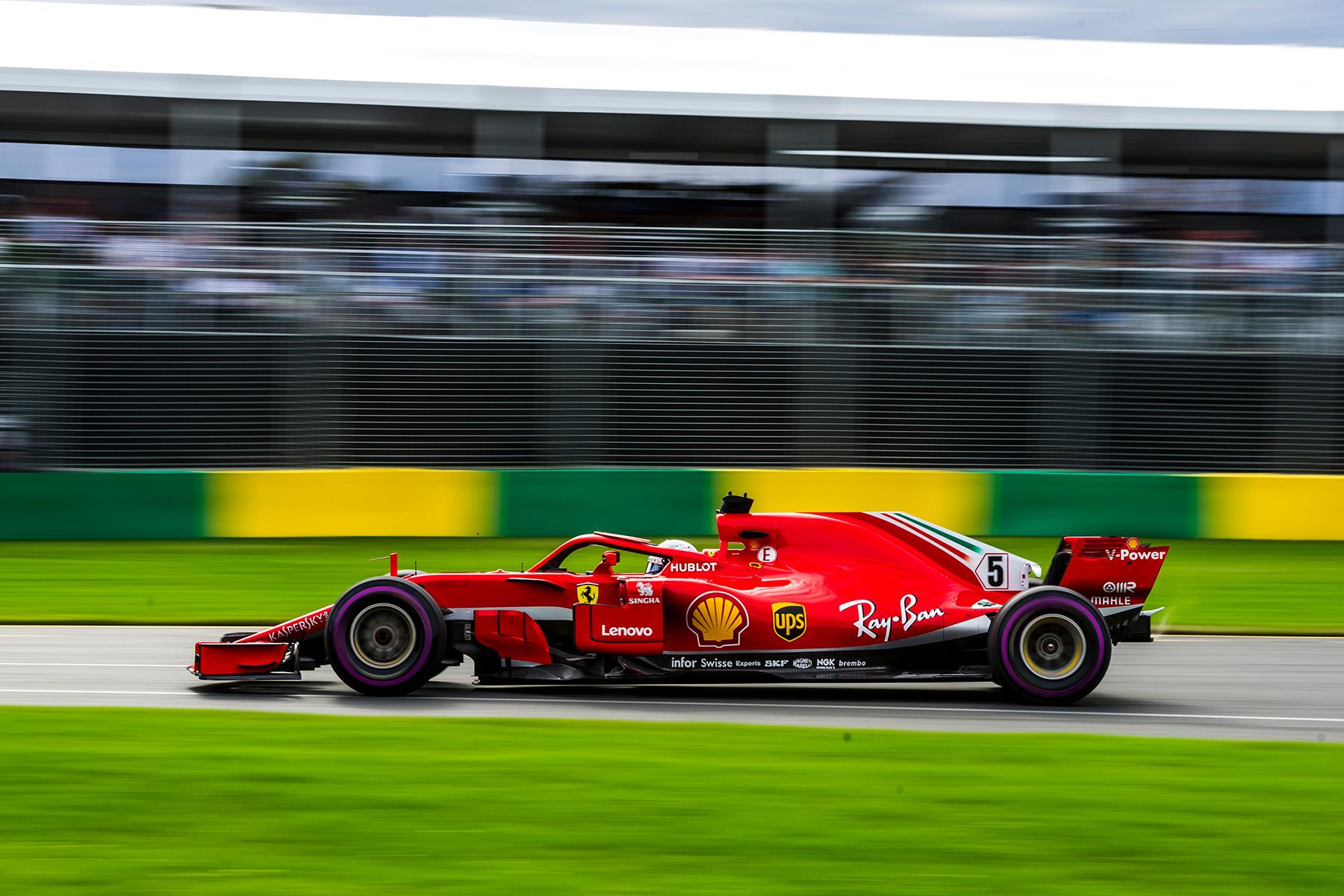 Sebastian Vettel on track at the Australian Grand Prix.