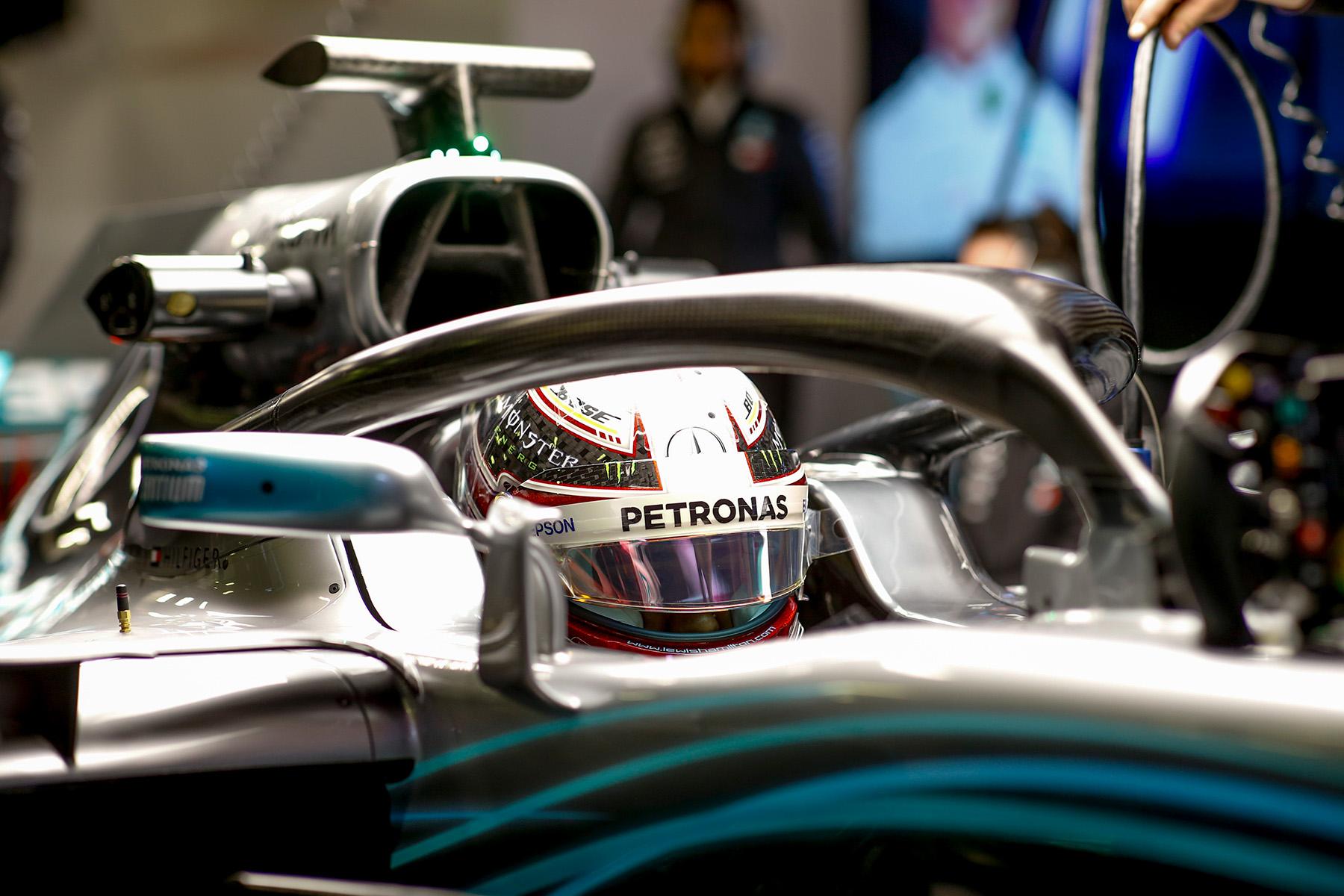 Lewis Hamilton sits in his W09 during preseason testing.