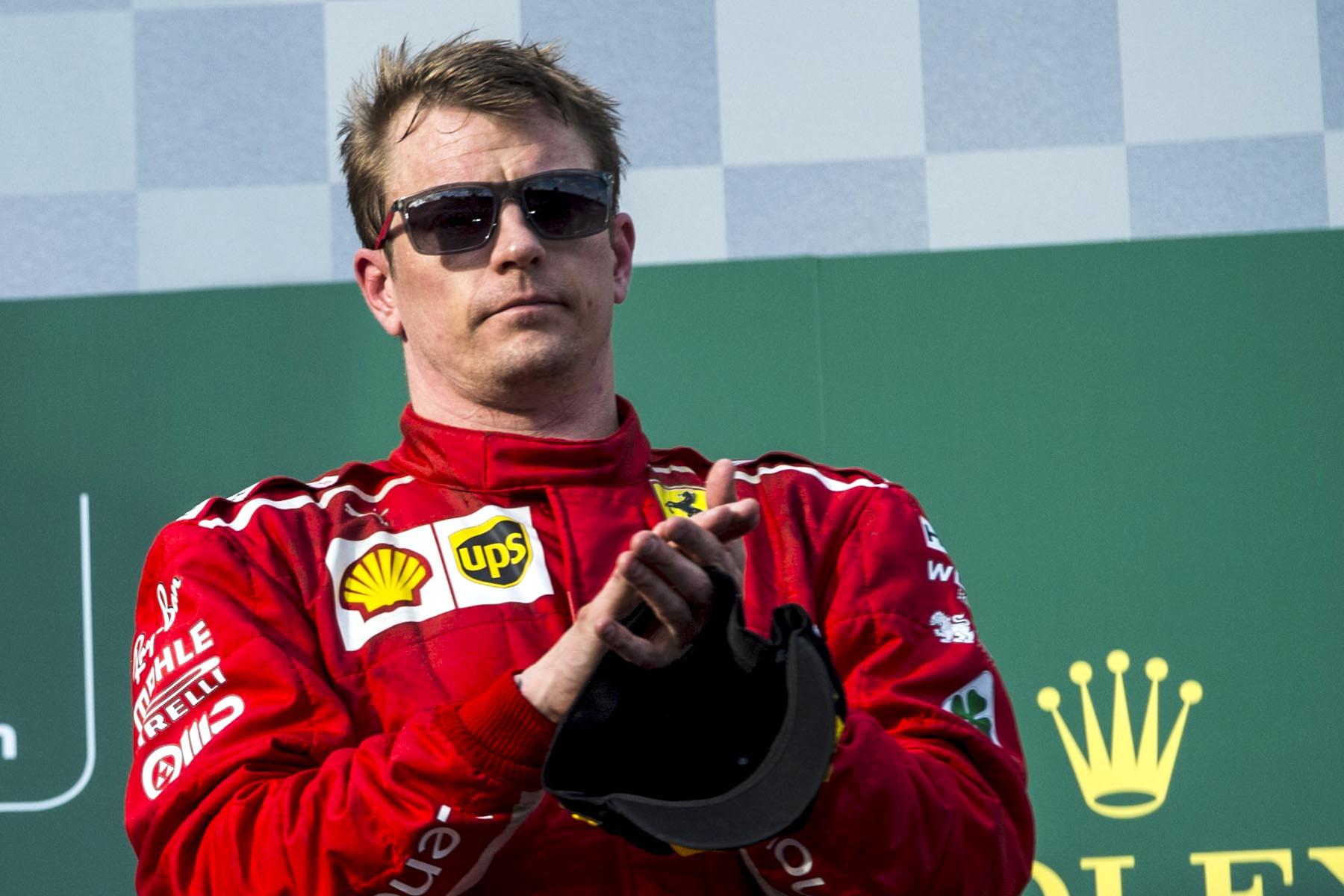 Kimi Raikkonen on the 2018 Australian Grand Prix podium.
