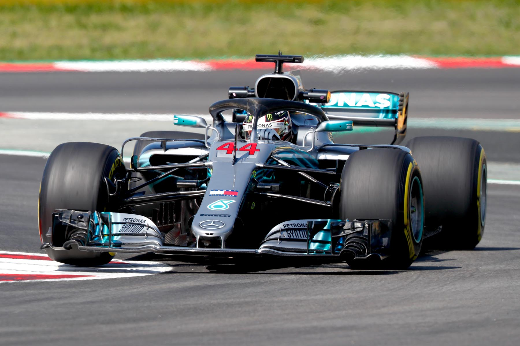 Lewis Hamilton on track at the 2018 Spanish Grand Prix.
