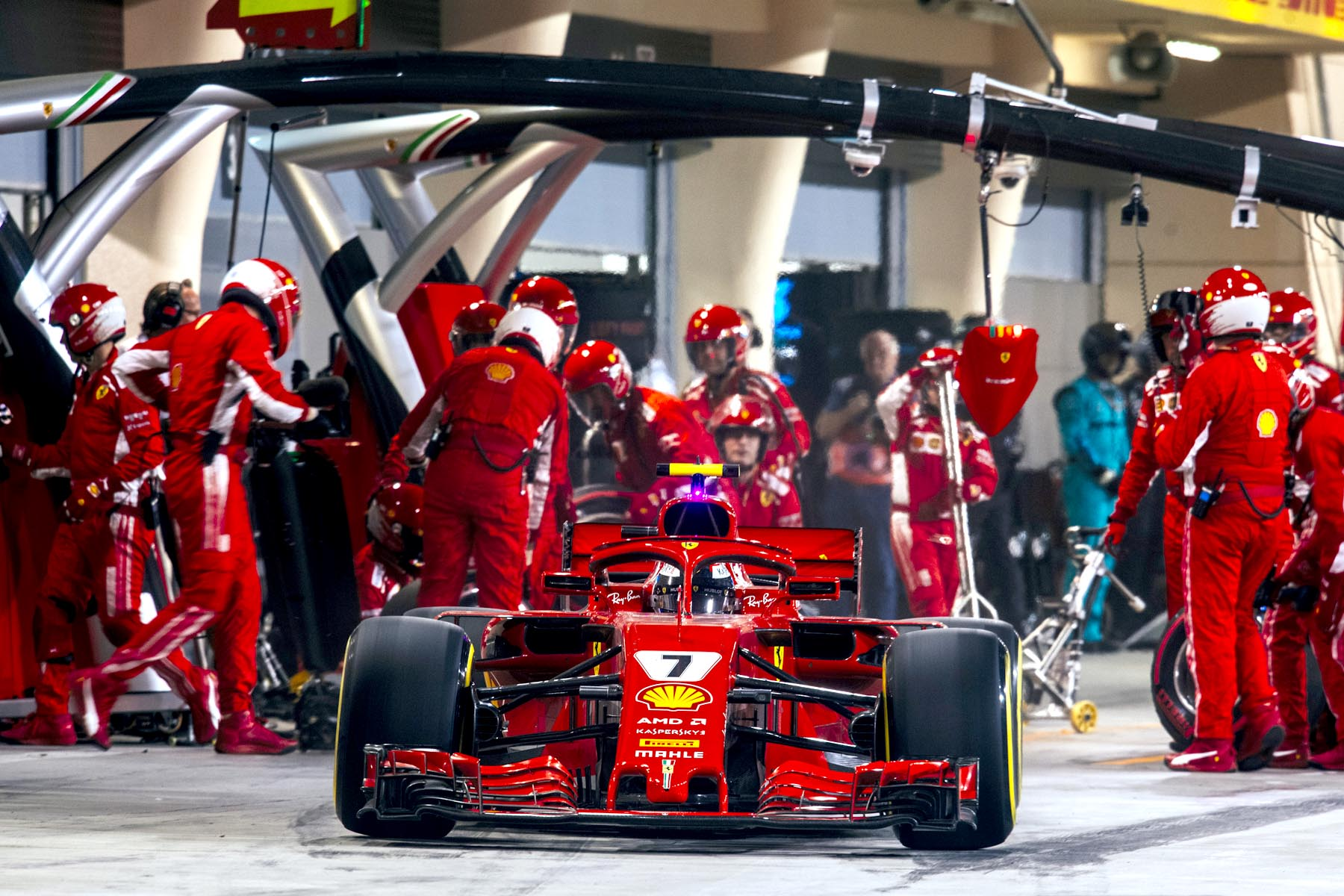 Kimi Raikkonen pulls away from a pit stop at the 2018 Bahrain Grand Prix.