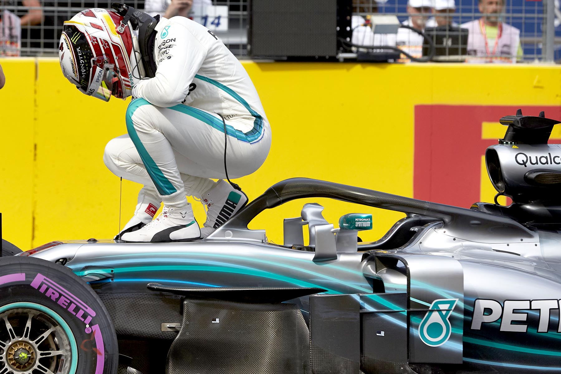 Lewis Hamilton celebrates at the 2018 French Grand Prix.