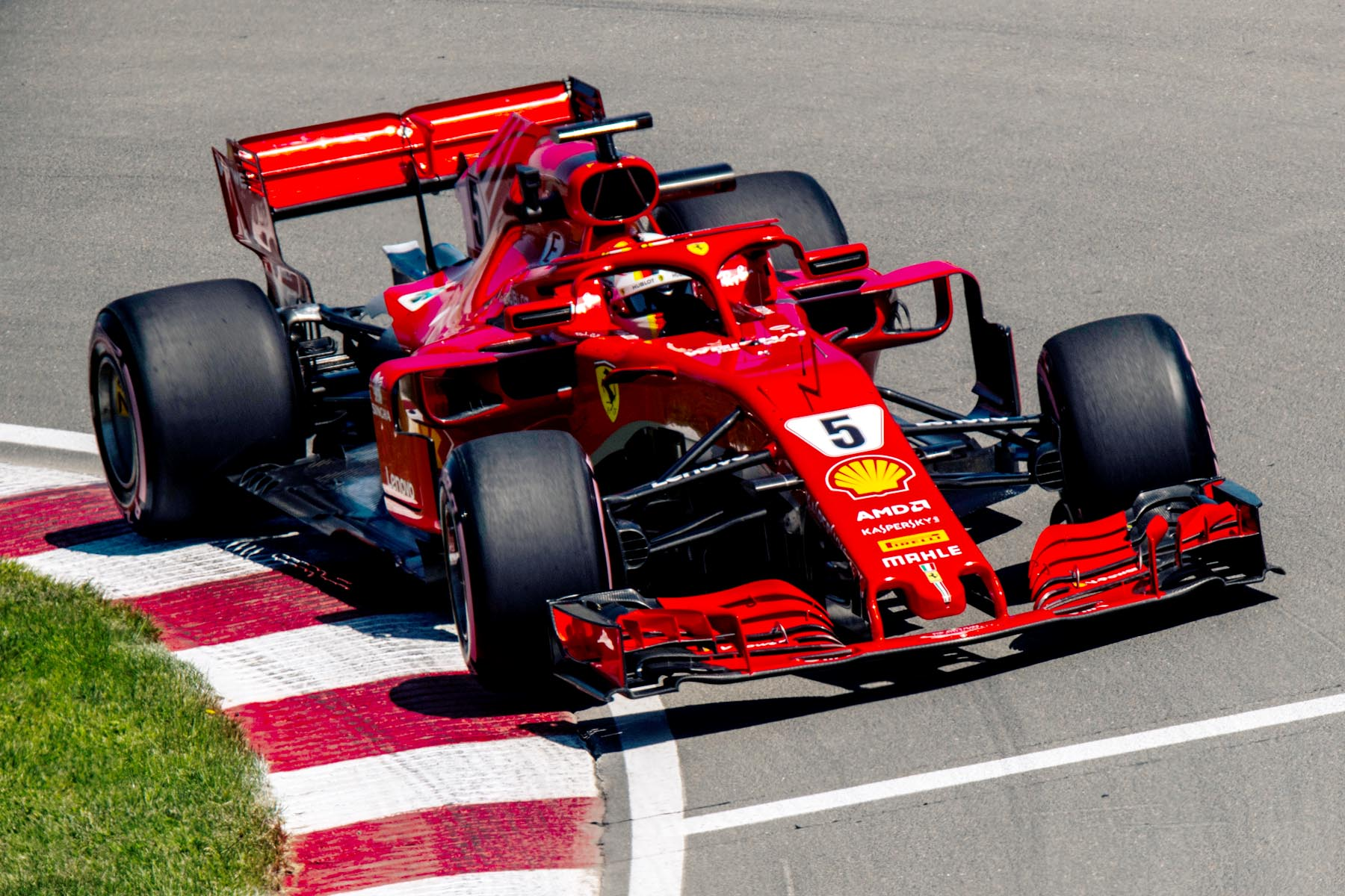 Sebastian Vettel on track at the 2018 Canadian Grand Prix.