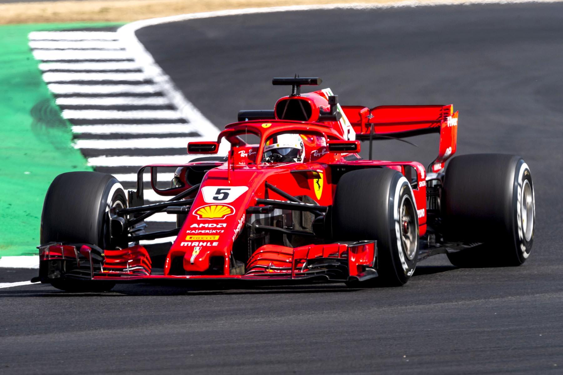 Sebastian Vettel on track during practice at the 2018 British Grand Prix.