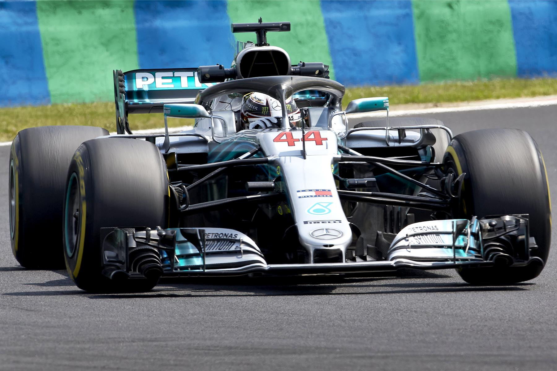 Lewis Hamilton on track at the 2018 Hungarian Grand Prix.