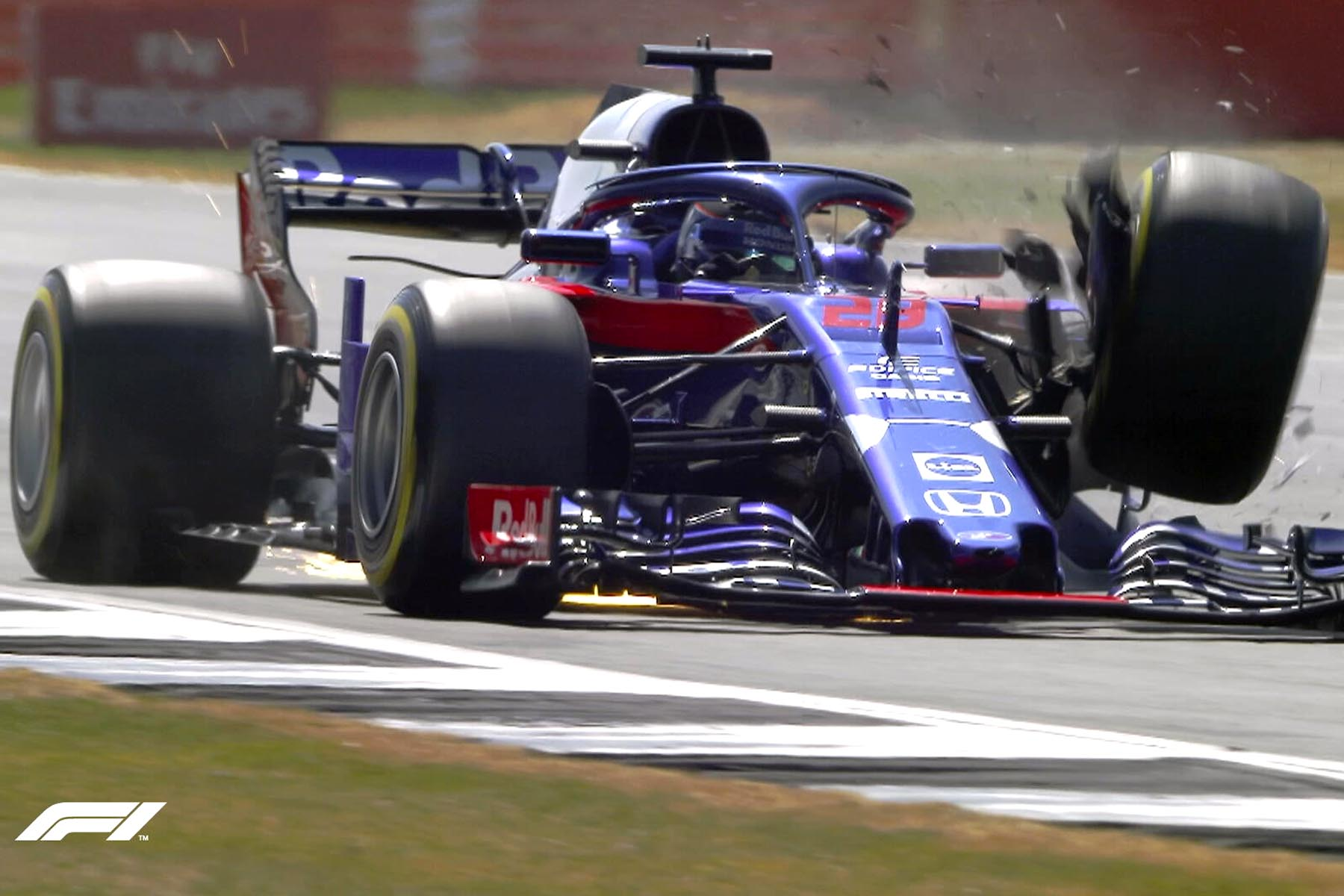 Brendon Hartley's front-left suspension fails.