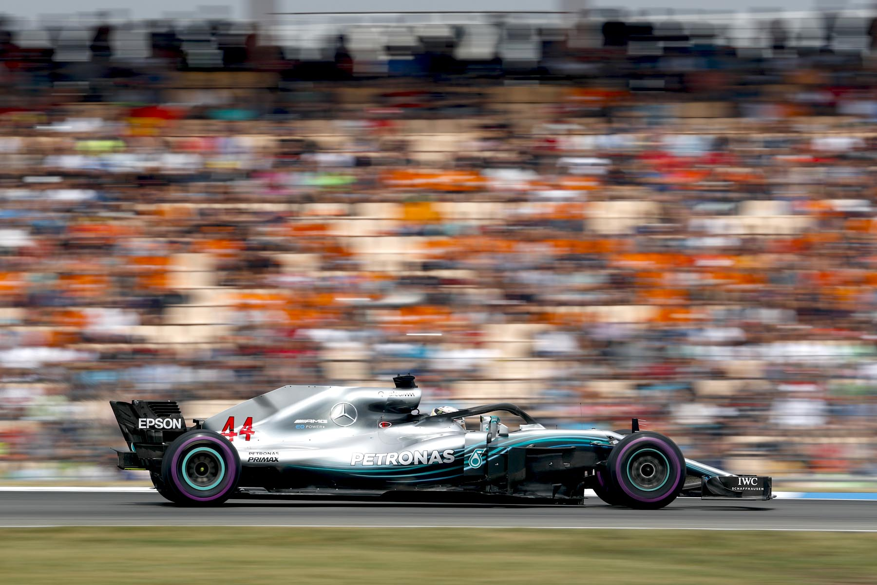Lewis Hamilton on track at the 2018 German Grand Prix.