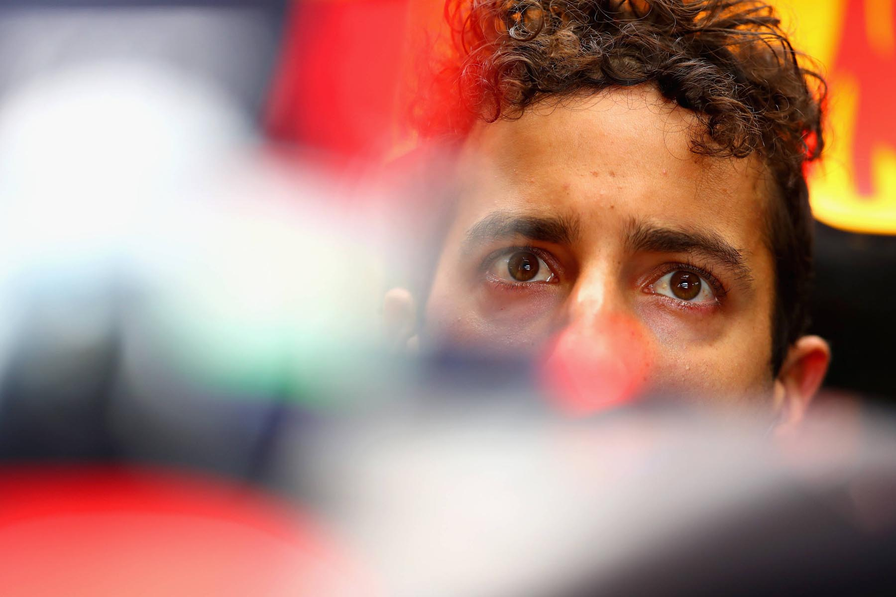 Daniel Ricciardo in his parked car at the 2018 Austrian Grand Prix.