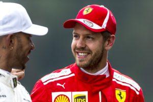 Lewis Hamilton and Sebastian Vettel at the 2018 Austrian Grand Prix.