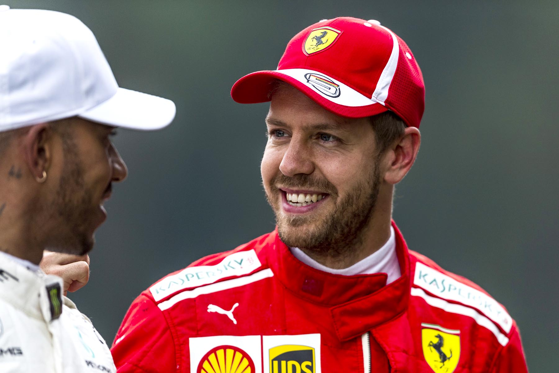 Lewis Hamilton and Sebastian Vettel at the 2018 Austrian Grand Prix.