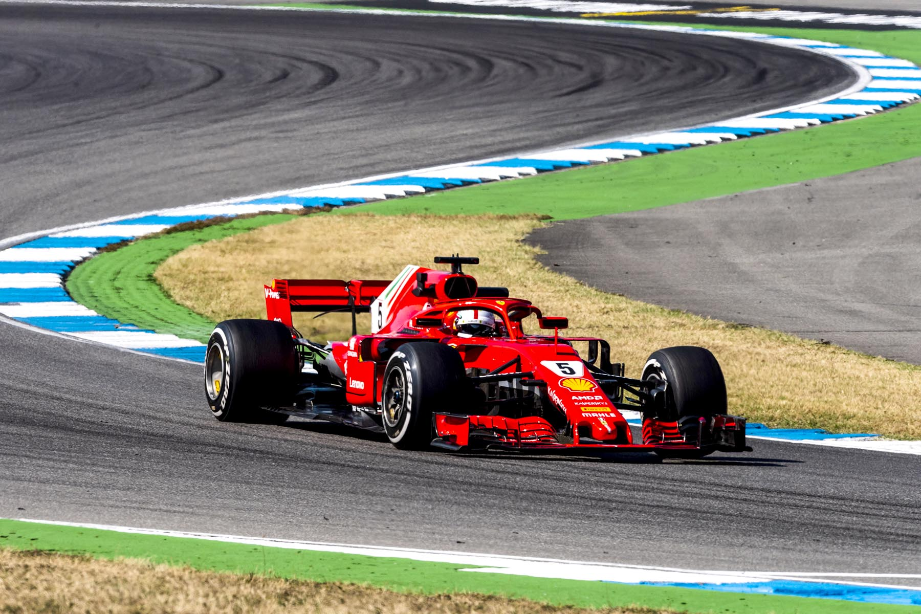 Sebastian Vettel on track at the 2018 German Grand Prix.