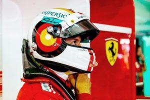Sebastian Vettel in his garage at the 2018 German Grand Prix.