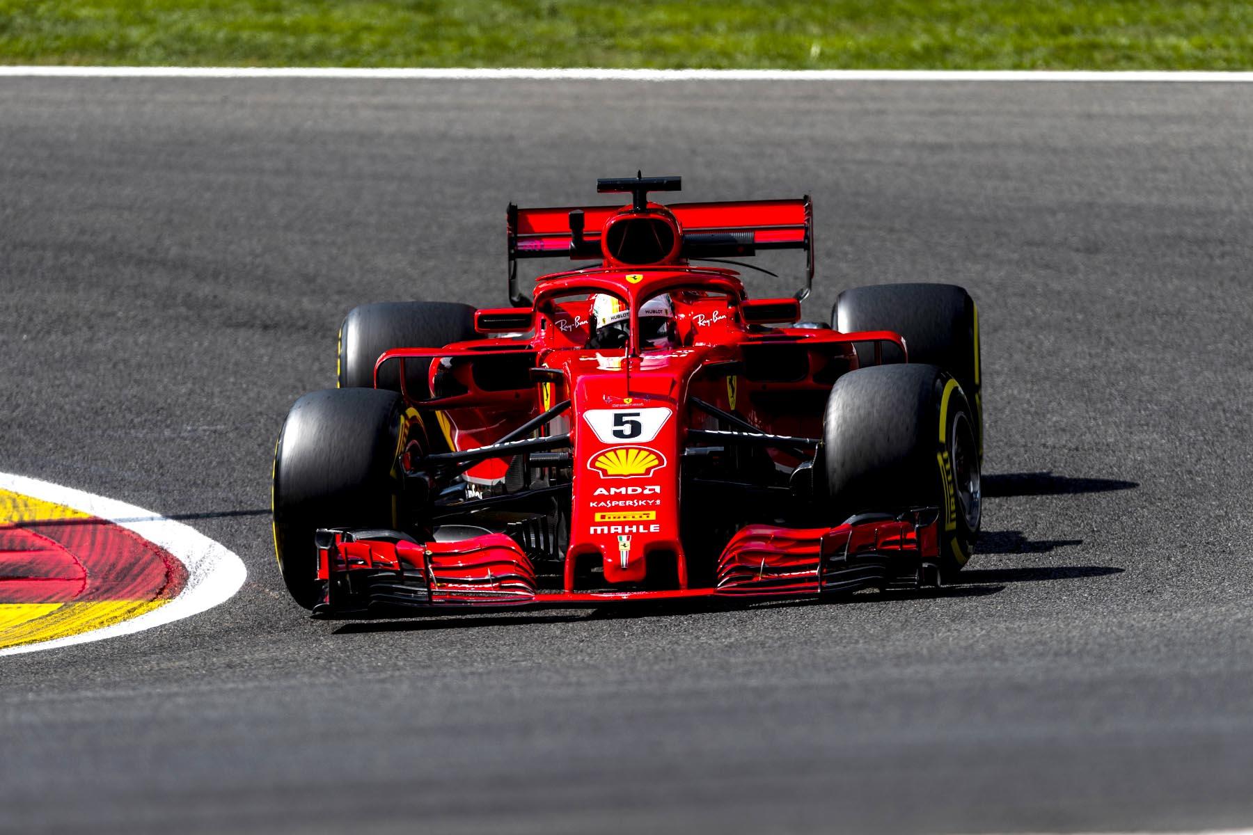 Sebastian Vettel on track at the 2018 Belgian Grand Prix.