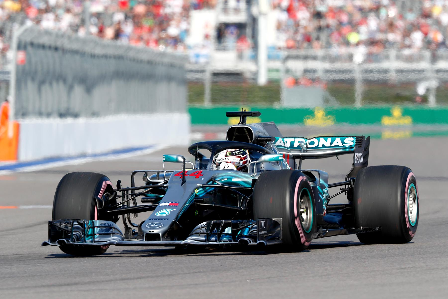 Lewis Hamilton on track at the 2018 Russian Grand Prix.