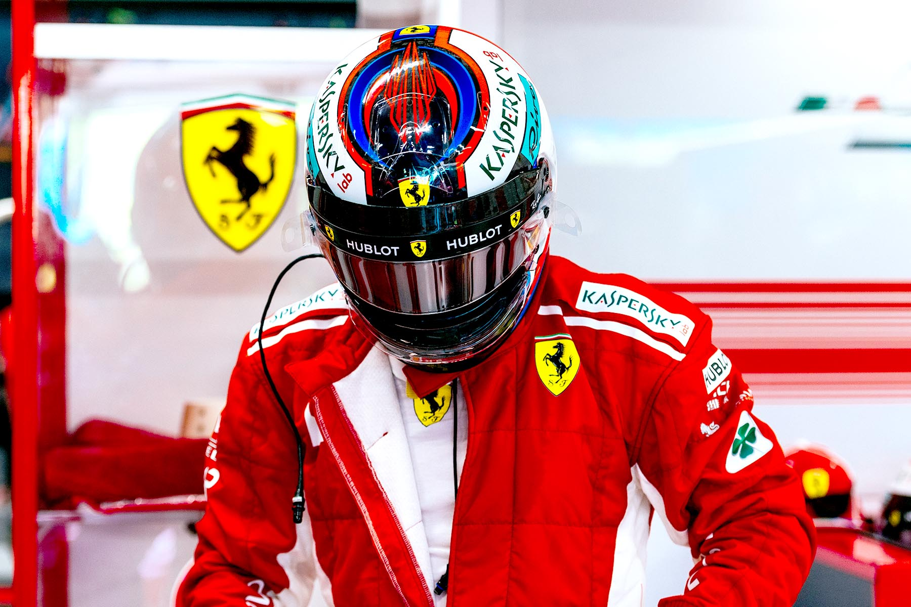 Kimi Raikkonen in the Ferrari garage at the 2018 Singapore Grand Prix.