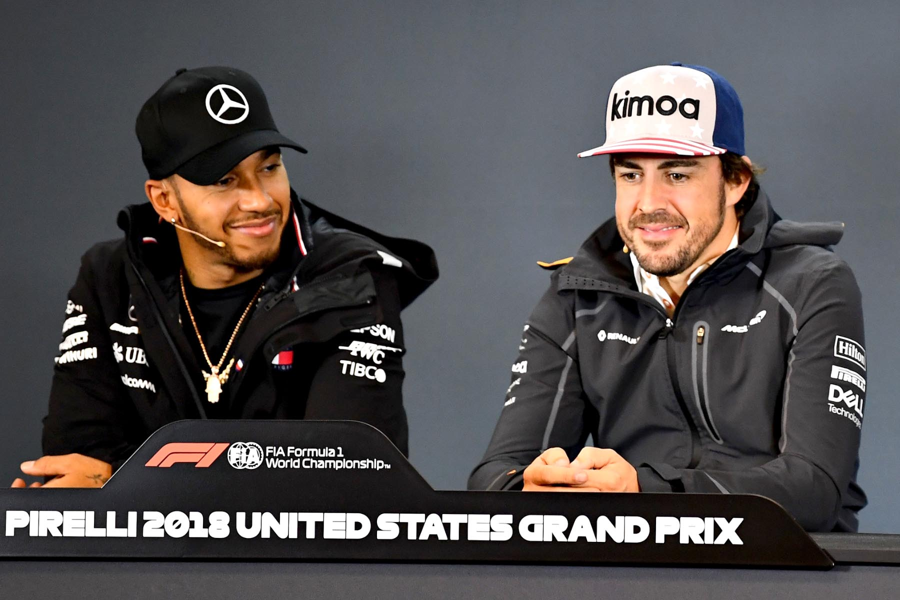 Lewis Hamilton and Fernando Alonso in the pre-race United States Grand Prix press conference.