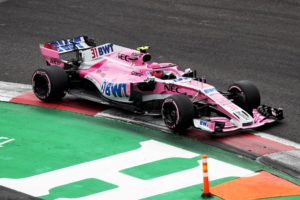 Esteban Ocon on track during qualifying for the 2018 Mexican Grand Prix.