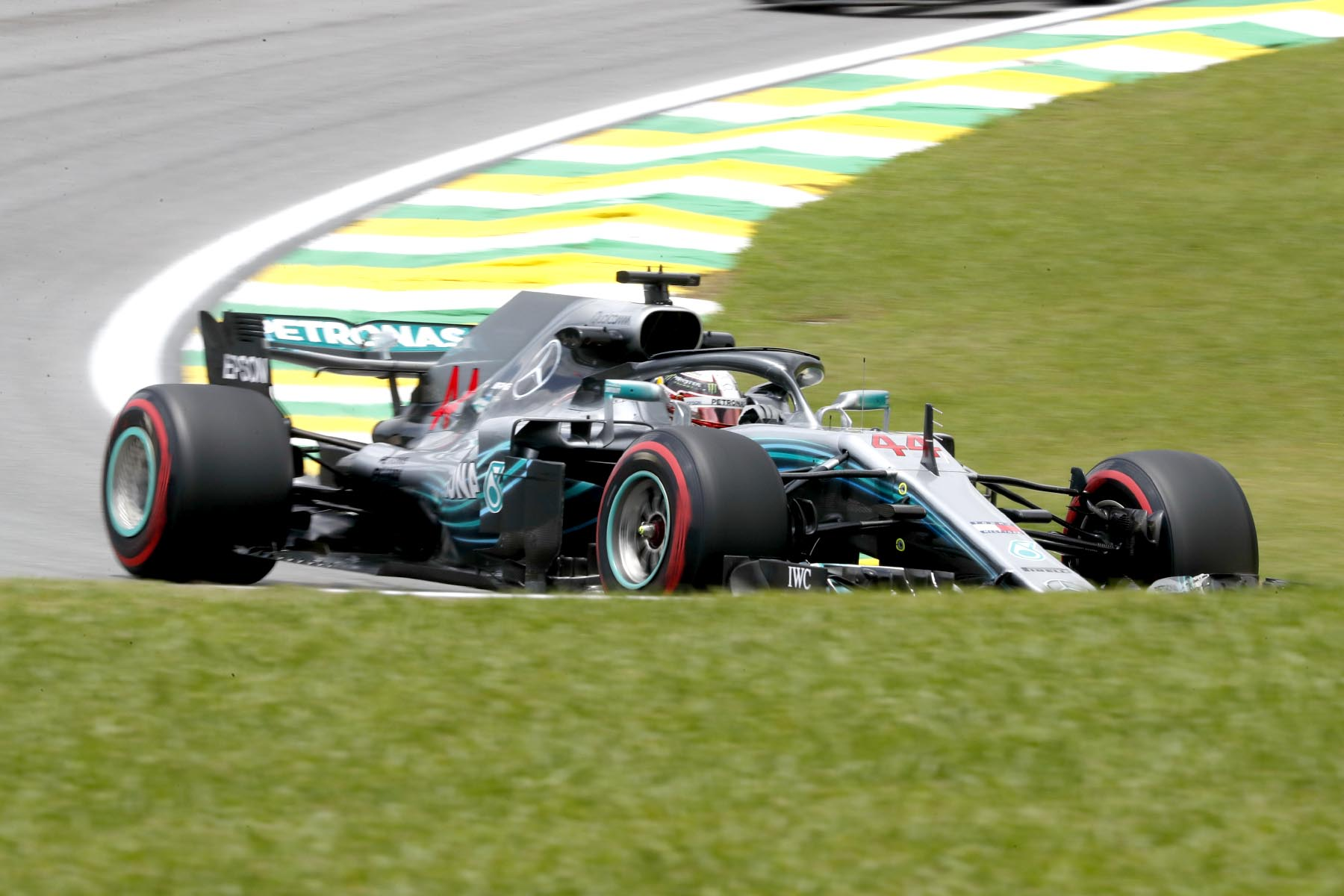 Lewis Hamilton on track at the 2018 Brazilian Grand Prix.