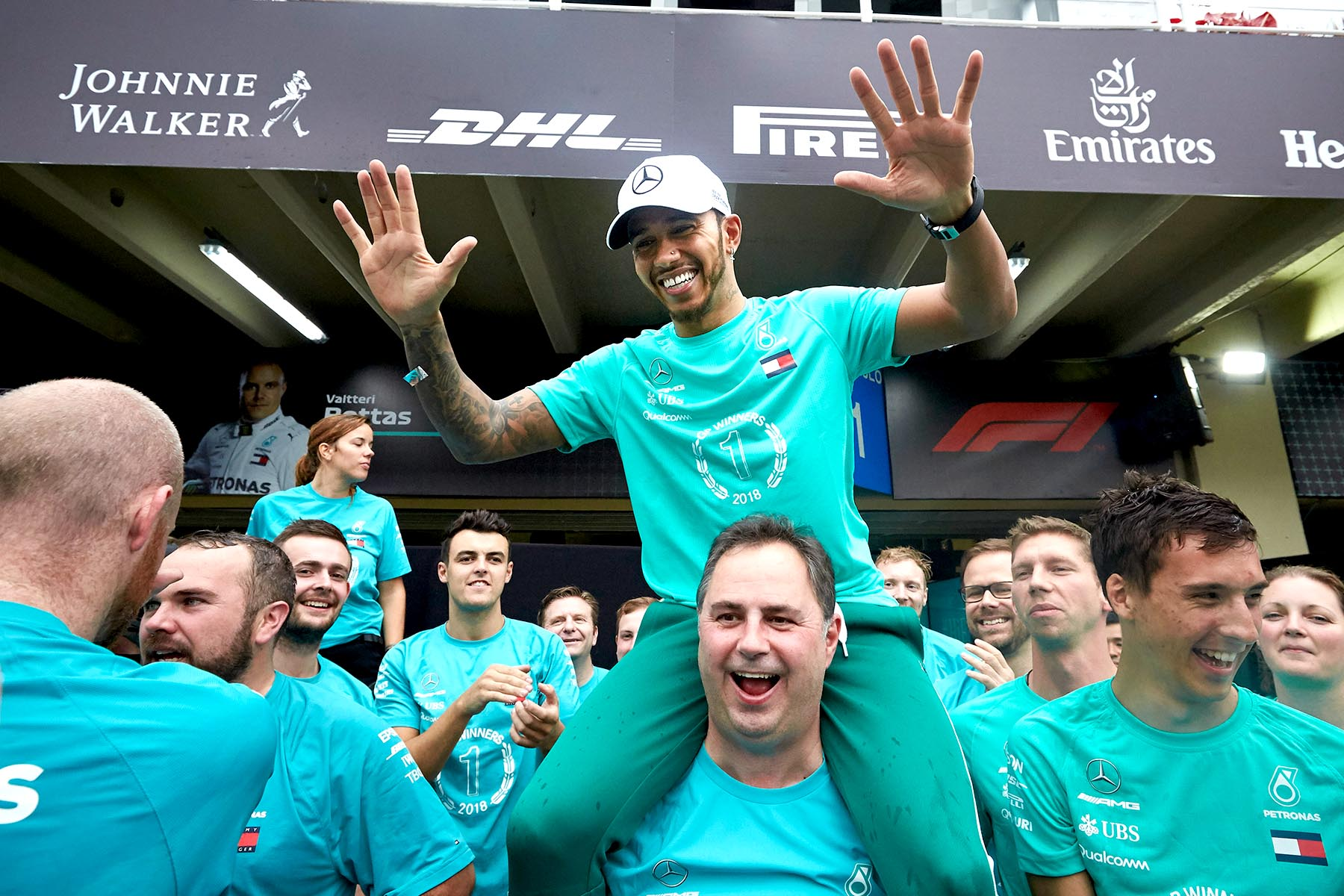 Lewis Hamilton celebrates at the 2018 Brazilian Grand Prix.