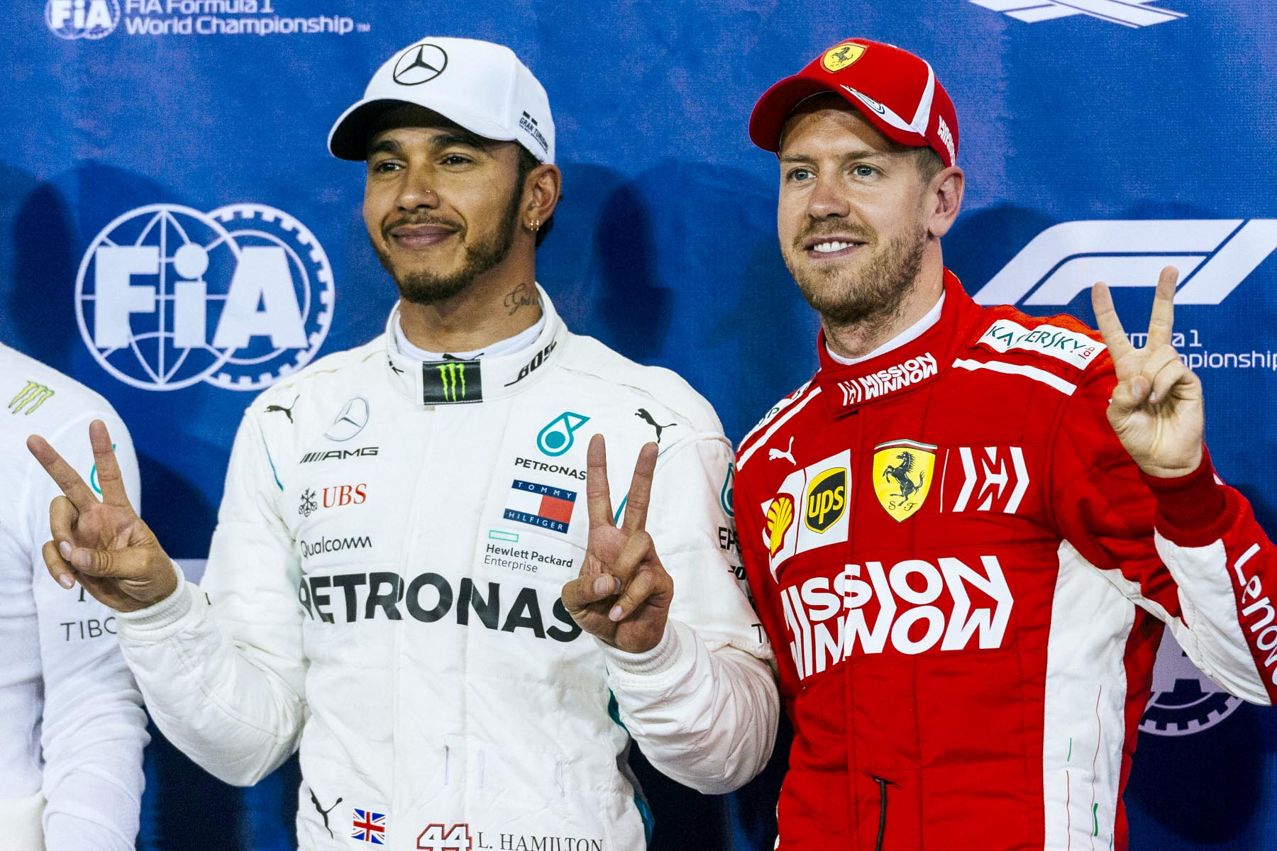 Lewis Hamilton and Sebastian Vettel at the 2018 Abu Dhabi Grand Prix.