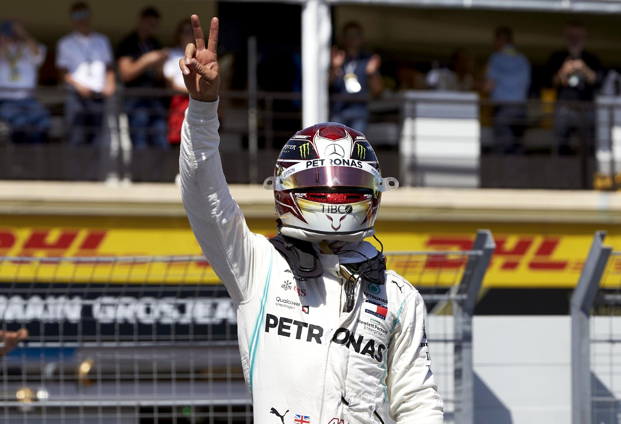 Lewis Hamilton celebrates at the 2019 French Grand Prix.