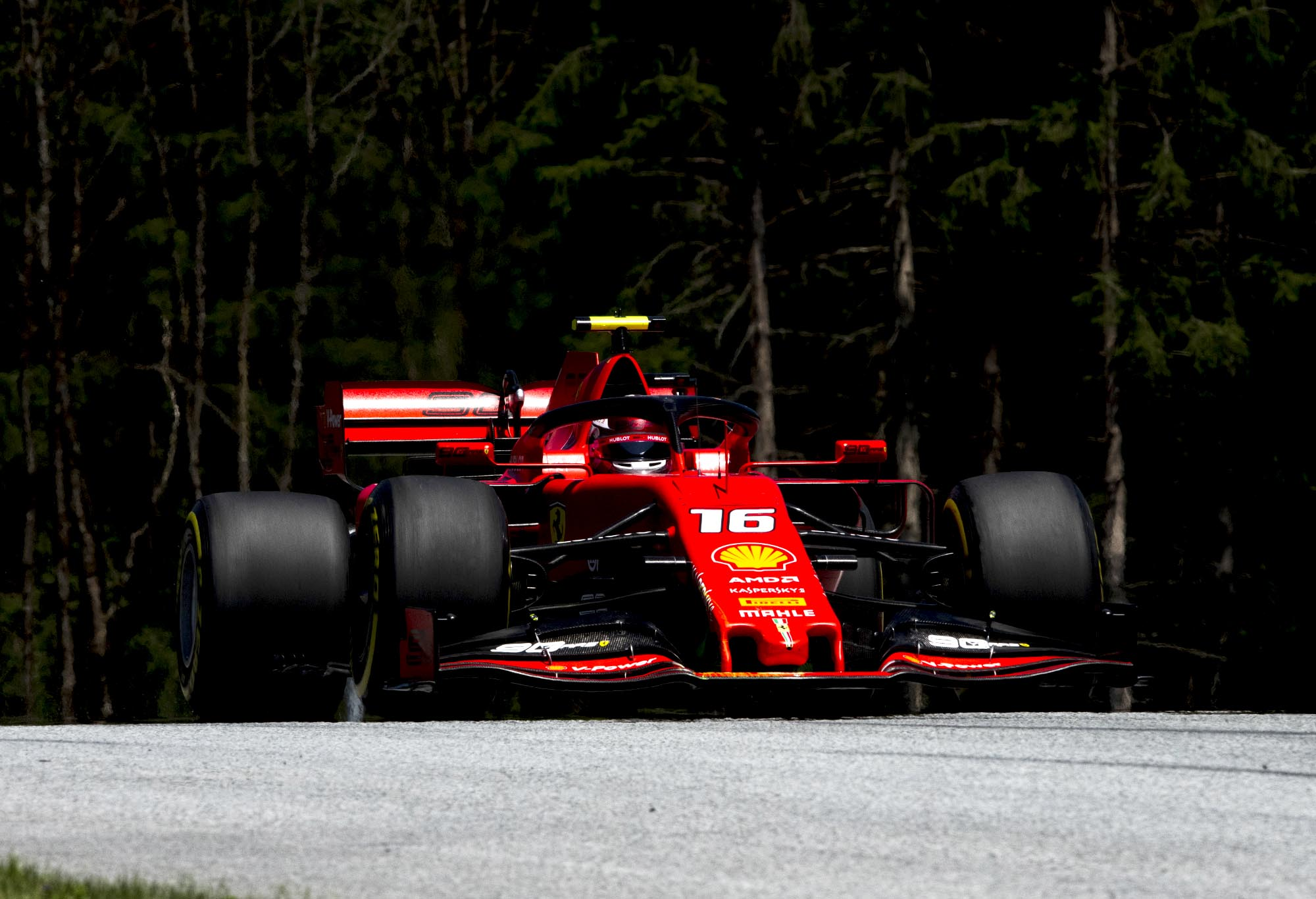 Charles Leclerc on track at the Austrian Grand Prix.