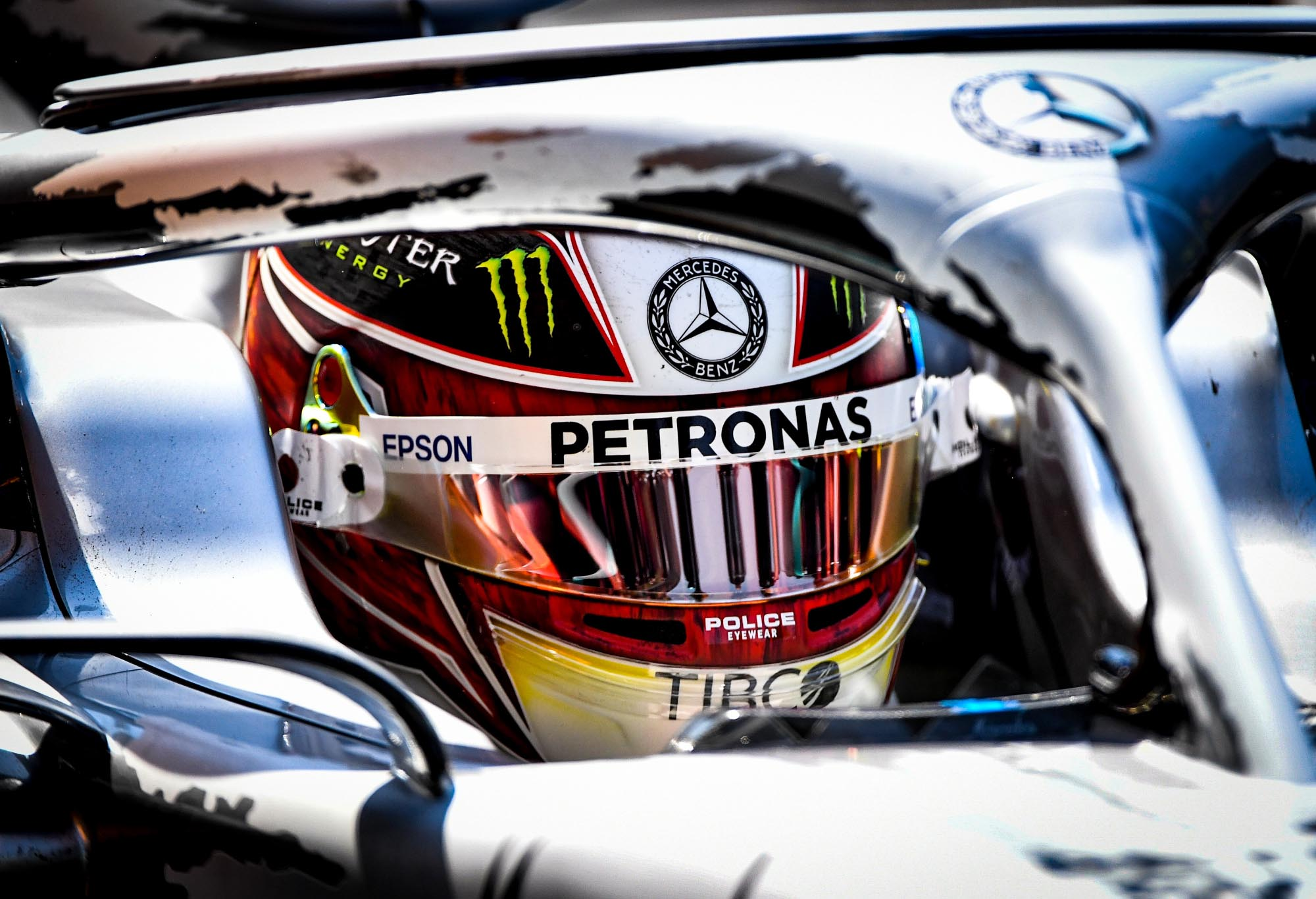 Lewis Hamilton in his Mercedes.