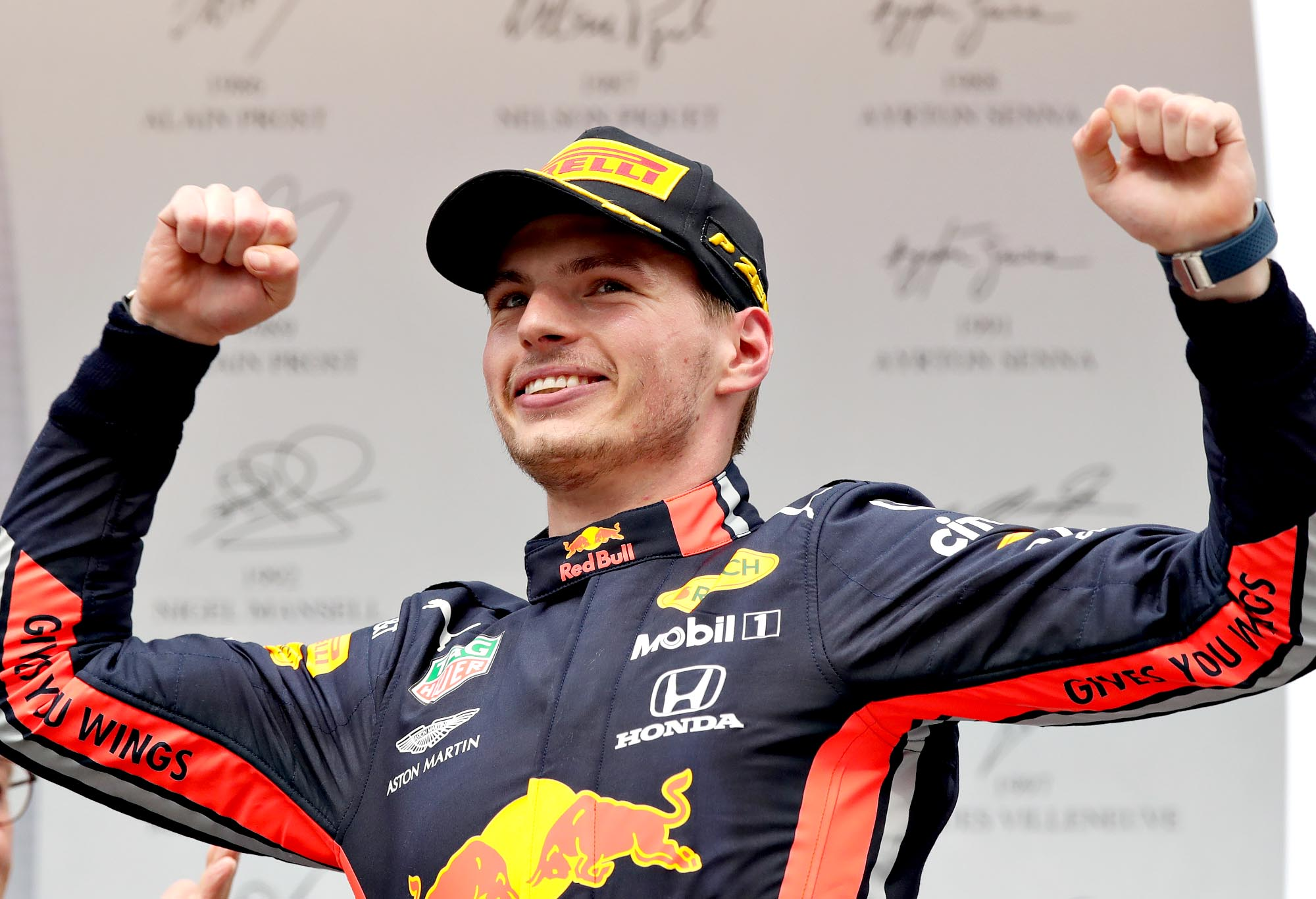 Max Verstappen celebrates on the 2019 German Grand Prix podium.